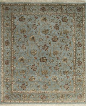Indian Jaipur Blue Rectangle 8x10 ft wool and silk Carpet 75726
