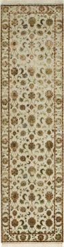 Indian Jaipur White Runner 6 ft and Smaller wool and silk Carpet 75761