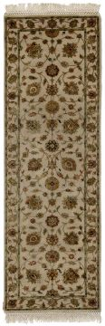 Indian Jaipur Beige Runner 13 to 15 ft wool and silk Carpet 75809