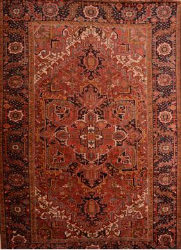 Persian Heriz Red Rectangle 8x11 ft Wool Carpet 75842