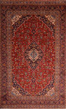 "Kashan Red Hand Knotted 7'4"" X 12'0""  Area Rug 100-75868"