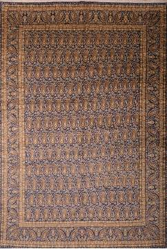 Persian Kerman Blue Rectangle 10x14 ft Wool Carpet 75891