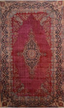 Persian Kerman Red Rectangle 11x16 ft Wool Carpet 75892