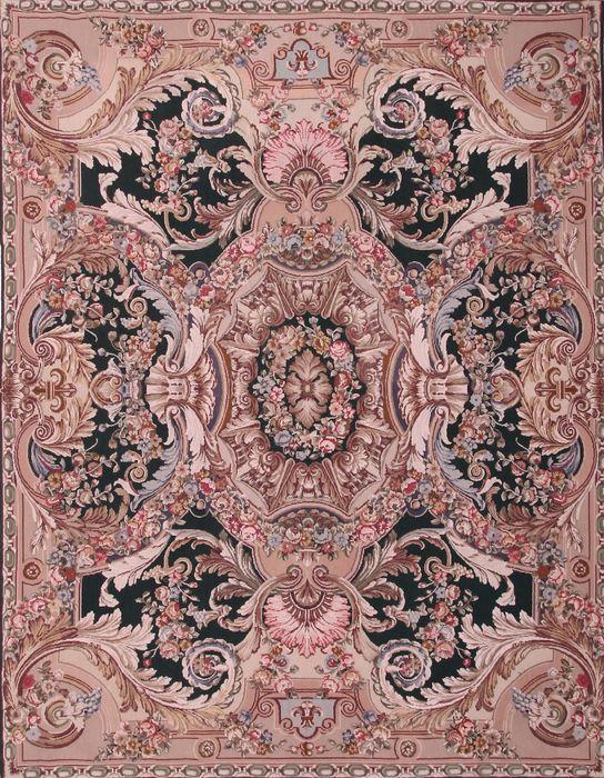 Indian Aubusson Multicolor Rectangle 8x10 Ft Wool Carpet