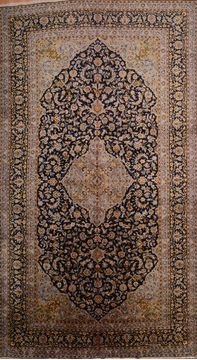 "Kashan Blue Hand Knotted 9'8"" X 17'5""  Area Rug 100-75971"