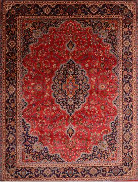 Persian Mashad Red Rectangle 10x13 ft Wool Carpet 75978