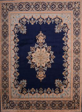 Persian Kerman Blue Rectangle 10x14 ft Wool Carpet 75980