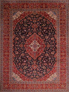 Persian Kashan Red Rectangle 10x13 ft Wool Carpet 75986
