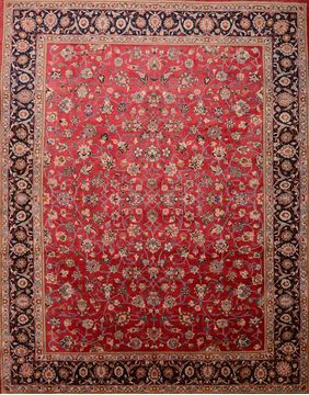 Persian Mashad Red Rectangle 10x13 ft Wool Carpet 75990