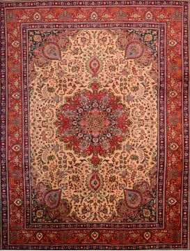 Persian Tabriz Beige Rectangle 10x13 ft Wool Carpet 76026