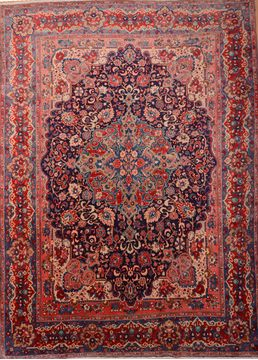Persian Mahal Red Rectangle 10x13 ft Wool Carpet 76028