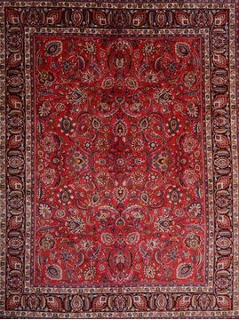 Persian Mashad Red Rectangle 10x13 ft Wool Carpet 76032