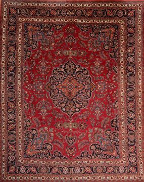 Persian Mashad Red Rectangle 10x12 ft Wool Carpet 76046