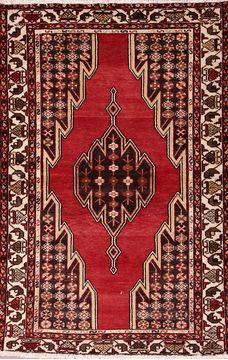 "Mazlaghan Multicolor Hand Knotted 4'0"" X 6'2""  Area Rug 155-76068"