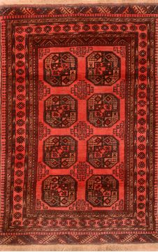 "Khan Mohammadi Red Hand Knotted 4'0"" X 6'0""  Area Rug 100-76093"
