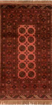 Afghan Khan Mohammadi Purple Rectangle 4x6 ft Wool Carpet 76102