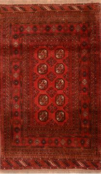 "Khan Mohammadi Red Hand Knotted 3'7"" X 6'3""  Area Rug 100-76112"