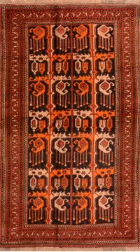 "Khan Mohammadi Orange Hand Knotted 4'3"" X 7'6""  Area Rug 100-76141"