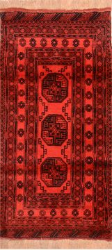 "Khan Mohammadi Red Runner Hand Knotted 3'5"" X 6'8""  Area Rug 100-76147"