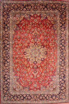 Persian Najaf-abad Red Rectangle 10x14 ft Wool Carpet 76181