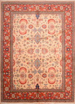 "Moshk Abad Red Hand Knotted 10'6"" X 13'11""  Area Rug 100-76245"