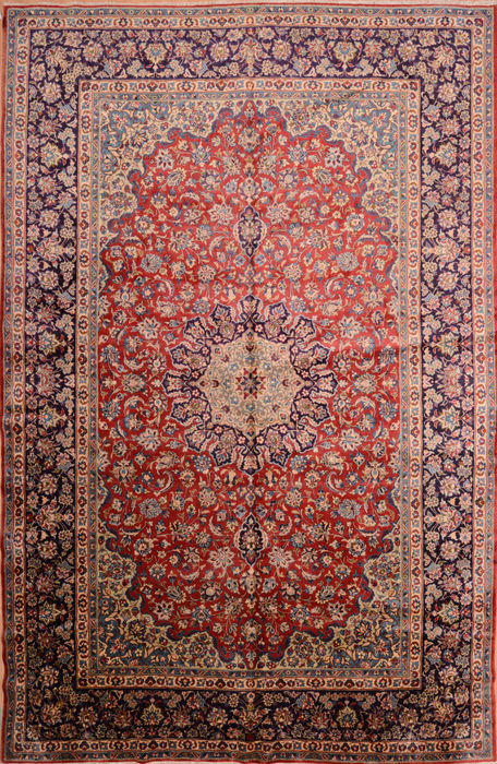 Persian Isfahan Blue Rectangle 11x16 Ft Wool Carpet 76246