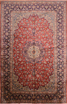 "Isfahan Red Hand Knotted 9'11"" X 15'3""  Area Rug 100-76246"