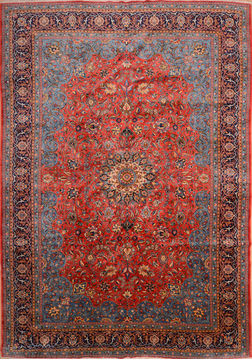 Persian sarouk Blue Rectangle 10x14 ft Wool Carpet 76250