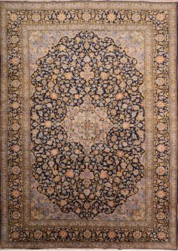 "Kashan Blue Hand Knotted 10'3"" X 14'6""  Area Rug 100-76251"