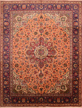 Persian Tabriz Orange Rectangle 10x13 ft Wool Carpet 76286