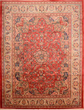 Persian Mahal Red Rectangle 10x14 ft Wool Carpet 76288