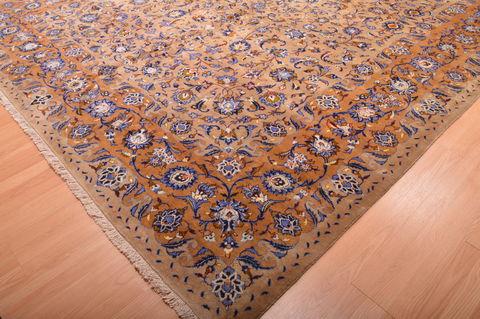 Persian Kashan Green Rectangle 11x16 Ft Wool Carpet 76309