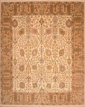 "Mahal Beige Hand Knotted 11'10"" X 14'7""  Area Rug 100-76310"