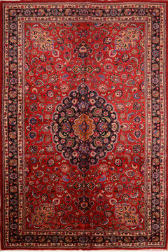 "Mashad Red Hand Knotted 11'0"" X 16'5""  Area Rug 100-76314"
