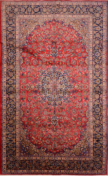 "Najaf-abad Red Hand Knotted 9'6"" X 15'6""  Area Rug 100-76315"