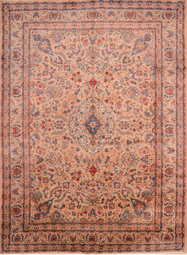 Persian Kashmar Beige Rectangle 10x13 ft Wool Carpet 76322