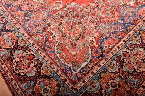 Persian Moshk Abad Red Rectangle 12x18 Ft Wool Carpet