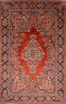 "Moshk Abad Red Hand Knotted 10'6"" X 16'6""  Area Rug 100-76325"