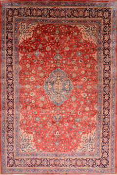 "Mahal Red Hand Knotted 10'0"" X 14'9""  Area Rug 100-76335"