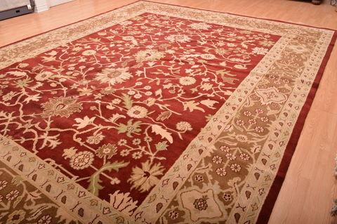 Indian Jaipur Red Rectangle 12x15 Ft Wool Carpet 76338