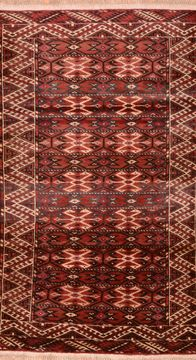 "Baluch Red Hand Knotted 4'1"" X 6'7""  Area Rug 100-76427"