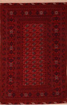 Afghan Baluch Red Rectangle 4x6 ft Wool Carpet 76429