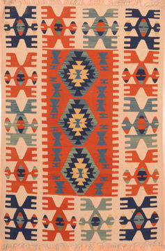 "Kilim Red Hand Knotted 3'10"" X 5'1""  Area Rug 100-76441"