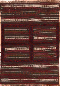 "Kilim Brown Hand Knotted 3'7"" X 5'3""  Area Rug 100-76445"
