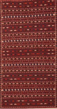 Afghan Kilim Red Runner 10 to 12 ft Wool Carpet 76449