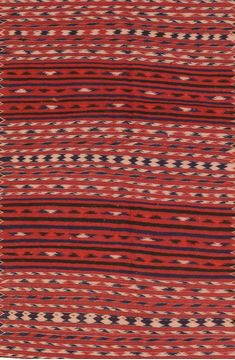 Afghan Kilim Red Runner 6 to 9 ft Wool Carpet 76454