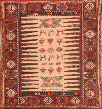 Afghan Kilim Red Square 4 ft and Smaller Wool Carpet 76500