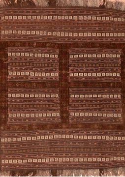 Afghan Kilim Brown Square 4 ft and Smaller Wool Carpet 76504