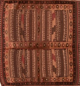 Afghan Kilim Brown Square 4 ft and Smaller Wool Carpet 76505