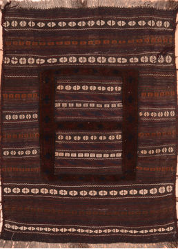 "Kilim Brown Hand Knotted 3'6"" X 4'8""  Area Rug 100-76506"
